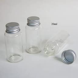 24pcs/lot 20ml Screw Neck Glass Bottle with Aluminum Cap 20ml Glass Container with Cap factory dirrect sale