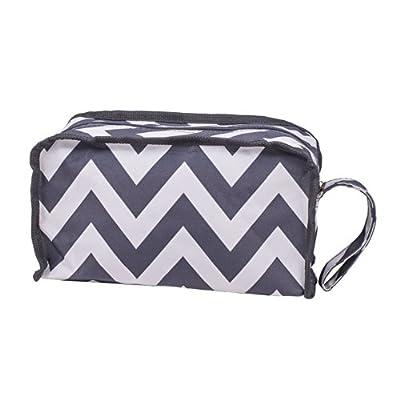 "10"" Grey Chevron Microfiber Travel Cosmetic Bag"