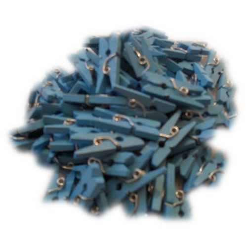 West5Products Pack of 100 Blue Mini Wooden Craft Pegs