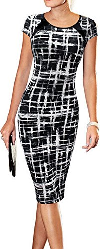 LUNAJANY-Womens-Summer-Casual-Black-Striped-Print-Wear-to-Work-Sheath-Dress
