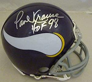Paul Krause Autographed signed Minnesota Vikings Mini Helmet W hof 98 - Autographed... by Sports Memorabilia