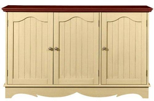 French Country 49.5 Inch Distressed Cream Three Door Lowboy, THREE-DOOR, MAPLE