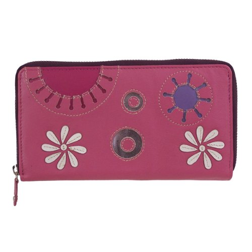 Mala Leather Cinnaswirl Zip Round Purse / Wallet