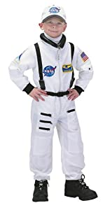 Aeromax Jr. Astronaut Suit with Embroidered Cap, White, size 8/10