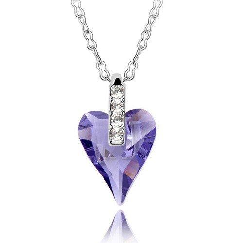 Sparkling_Crystal Swarovski - Tanzanite Crystal Heart Necklace Pendant
