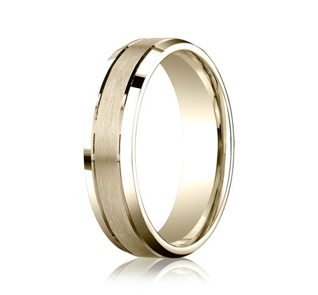 7.0 Millimeters 10Kt Yellow Gold Wedding Ring with Brushed Satin Finish Center and Bright Rounded Edges, Comfort Fit Style SV44-106W6, Finger Size 10¼