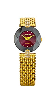 Jowissa Women's J5.014.S Facet Strass Gold PVD Dimensional Glass Maroon Dial Rhinestone Watch