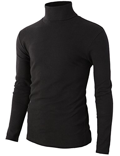 H2H Mens Basic Designed Fashion Napping Fabric Warm Turtleneck T-Shirts Black Us M/Asia Xl (Kmttl0305)