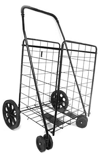 UPT Swivel Wheels Jumbo Folding Shopping Grocery laundry Cart with Extra Basket 360 Rotating Front Wheels, Black