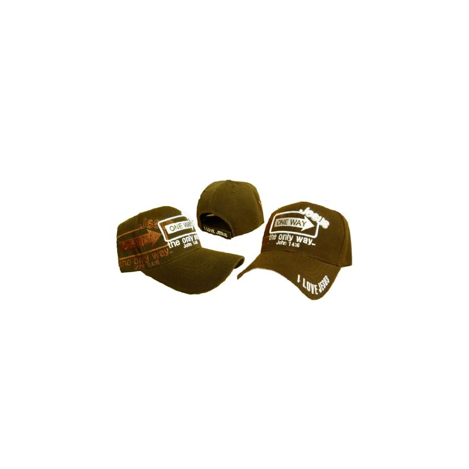 14c4f73caf7 Jesus the Only Way One Way Sign Christian Baseball Cap Chocolate Brown Hat  I Love Jesus