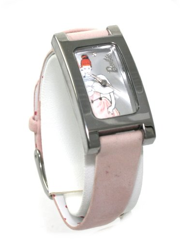 Licensed Classic Barbie Pink Genuine Leather Band Wrist Watch Rectangular Face ~ Comes in Limited Edition Collectors Tin