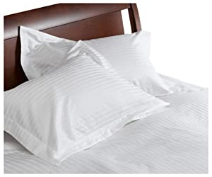 Divatex 260-Thread-Count 100% Cotton Stripe Full/Queen Duvet with Bonus Standard Shams, White