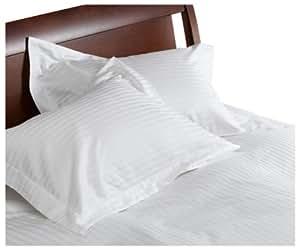 Divatex 260-Thread-Count 100% Cotton Stripe Full/Queen Duvet with Bonus Standard Shams, White