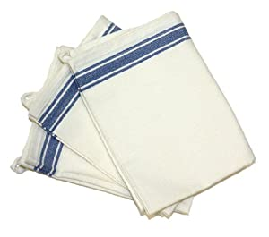 Aunt Martha's 18-Inch by 28-Inch Package of 3 Vintage Dish Towels, Blue Striped