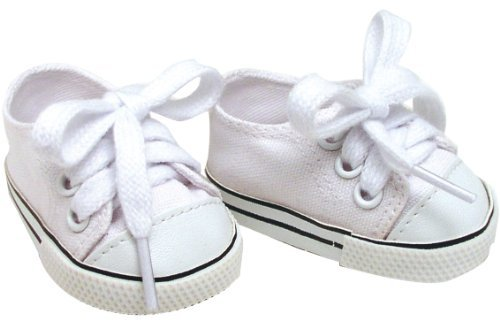White Doll Sneakers fit American Girl Dolls, 18 Inch Doll White Shoes in Canvas