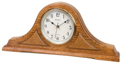 River City Clocks Radio-controlled Tambour Mantel Clock with Oak Finish - 9 Inches Tall - Model # 801-393O