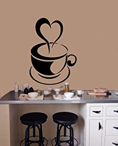 Housewares Vinyl Decal Coffee Cup with Heart Home Wall Art Decor Removable Stylish Sticker Mural Unique Design for Any Room by Decal House