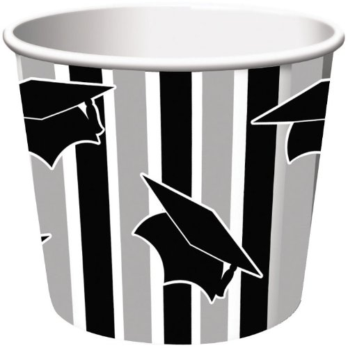 Creative Converting 6 Count Graduation Treat Cups, Black/Grey Stripe