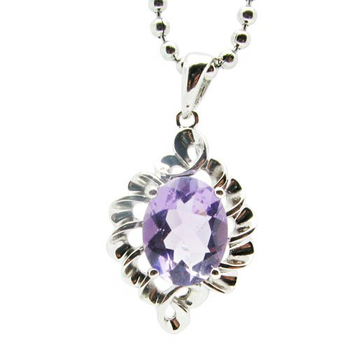 Personality 925 Silver Natural Amethyst Crystal Pendant (Easter's Gift)
