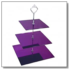 Three Tier 3mm Acrylic Purple Mirror Square Cake Stand (24 cup cakes) (15 & 19 & 23 H32cm) (6 & 7.5 & 9 H12.5inch)