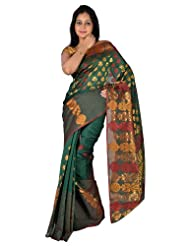 IndusDiva Net Dark Green Banarasi Saree with Zari Work