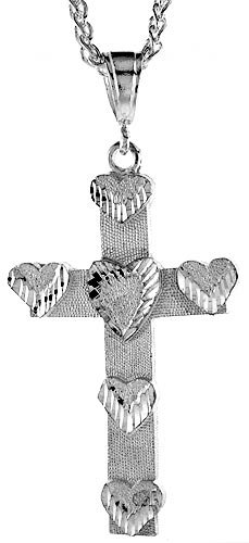 Sterling Silver Cross Pendant, 2 1/2 inch (68 mm) tall