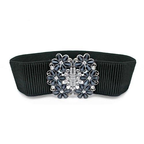 Lady Waist Wide Elastic Fashion Belt Features Diamond Flower Detail