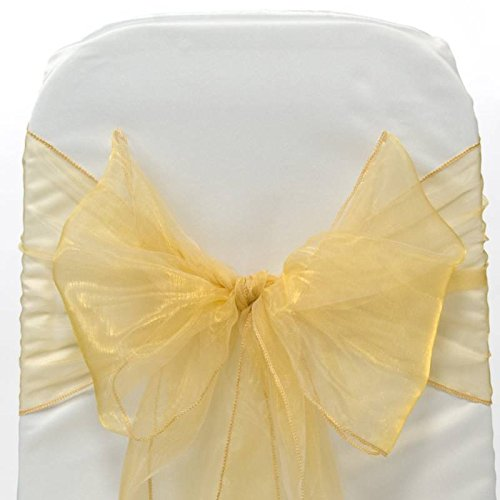 MDS 50 Organza Chair Cover Bow Sash Wedding Banquet Decor -gold
