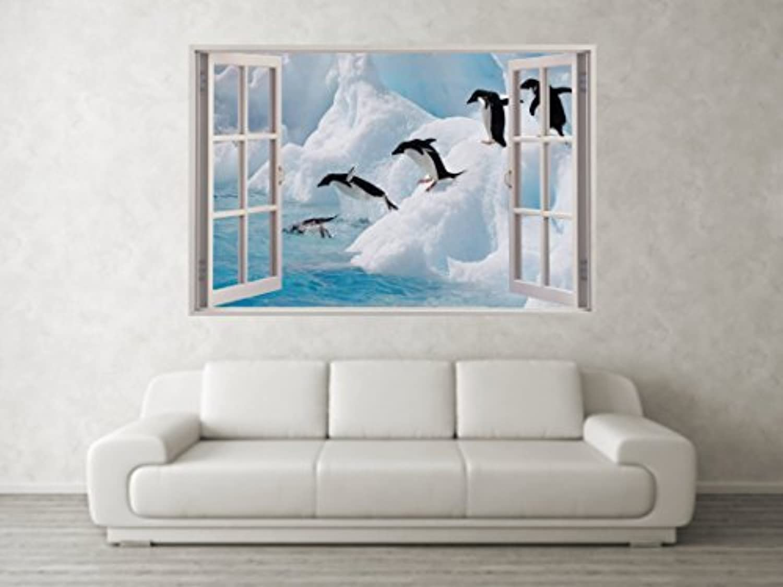 Full Wall Mural Decals: Penguins Diving Iceberg Scene 3D Full Colour Window Wall
