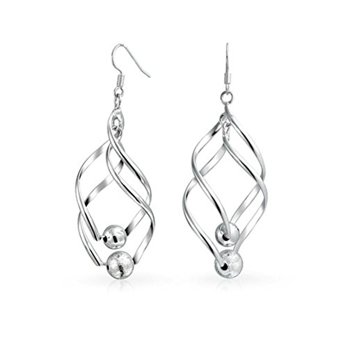 Bohemian Style 925 Sterling Silver Plated Double Marquise Loops Design Beaded Twisted Spiral Long Linear Swirl French Wire Drop Dangle Earrings (Twisted Wire Ring compare prices)