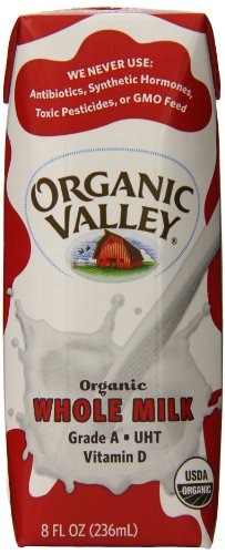Organic Valley Whole Milk, Ultra Pasteurized, 8 Ounce (Pack of 12)