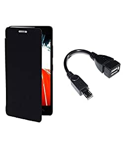 SSR Flip case & Cover For Micromax A77 With Free One OTG CABLE