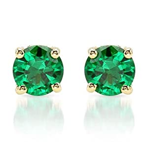 PARIKHS Round Cut Green Diamond Stud AAA Quality in Yellow Gold (0.45ct)