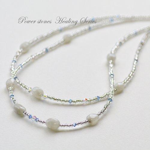 天然石タンブル2連ネックレス/ホワイトムーンストーン