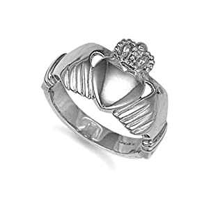 Jewelco London Sterling Silver Claddagh Ring Size U