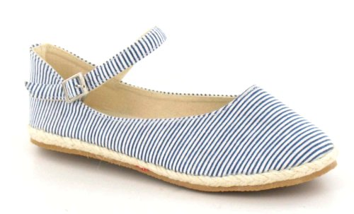 Spot On Flat Espadrille Ankle Strap Stripes