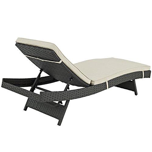 LexMod Sojourn Outdoor Patio Chaise, Sunbrella® Canvas Antique Beige 3