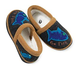 ACORN Go Fish Moc Slipper,Charcoal Multi,9.5-10.5 M US Toddler