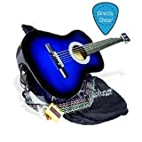"38"" Inch Student Beginner Blue Acoustic Toy Guitar with Carrying Case & Accessories & DirectlyCheap(TM) Translucent Blue Medium Guitar Pick (BLS-AG1)"