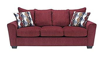 Chenille Sofa in Burgundy
