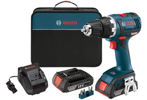 Bosch DDS182-02 18-volt Brushless 1/2-Inch Compact Tough Drill/Driver with 2.0Ah Batteries, Charger and Case (Bosch 18v Drill compare prices)