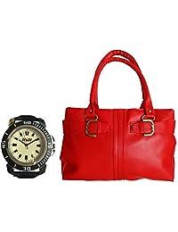 Arc HnH Women HandBag + Watch Combo - Buckle Red Handbag + Sporty Black Watch