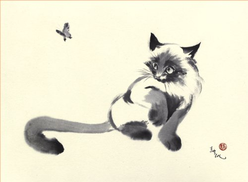 """Let's Play Tease The Cat!"", A Cat Plays With A Butterfly, Giclee Print Of Original Sumi-E Painting, 10 X 13 Inches"