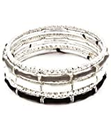 Black, White and Silver-Tone Bangle Bracelet Set