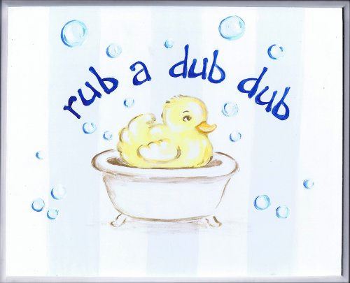 The Kids Room by Stupell Rub-a-dub-dub Duck in a Tub Rectangle Wall Plaque
