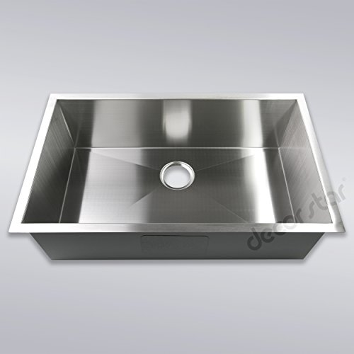 Decor Star H-001-Z 32 Inch x 19 Inch Undermount Single Bowl 16 Gauge Stainless Steel Luxury Handmade Kitchen Sink cUPC Zero Radius