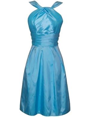 Taffeta Halter Bridesmaid Dress Prom Party Formal Gown Knee-Length