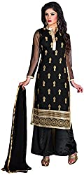 Manmauj Women's Cotton Unstitched Dress Material (MM10032DBLK, Black)
