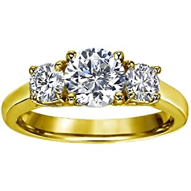 14K Yellow Gold 3 Three Stone Round Brilliant Diamond Engagement Ring (1 cttw, GH/I1)