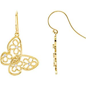IceCarats Designer Jewelry 14K Yellow Gold Butterfly And Floral Design Earrings.